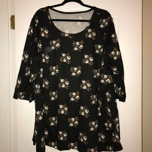 🌸 Woman Within 3/4 sleeve flowered shirt 🌸